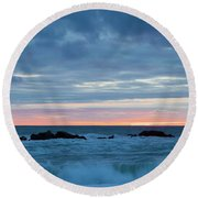 Sliver Of Pink At Moonstone Beach Round Beach Towel