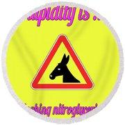 Sloshing Bigstock Donkey 171252860 Round Beach Towel