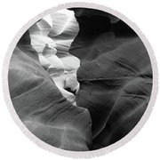 Slot Canyon Black And White Round Beach Towel