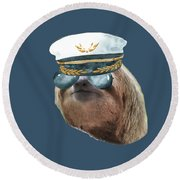 Sloth Aviator Glasses Captain Hat Sloths In Clothes Round Beach Towel