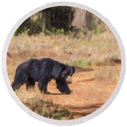 Sloth Bear Melursus Ursinus Round Beach Towel