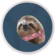 Sloth Black Glasses Red Scarf Sloths In Clothes Round Beach Towel