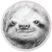 Sloth Round Beach Towel by Eric Fan