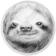 Sloth Round Beach Towel by Eric Fan