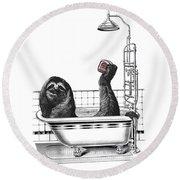 Sloth In Bathtub Taking A Shower Round Beach Towel