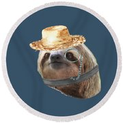 Sloth Monacle Straw Sloths In Clothes Round Beach Towel