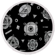 Slots Of Light Through The Darkness. Round Beach Towel