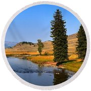 Slough Creek Afternoon Panrama Round Beach Towel