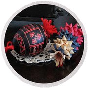 Slovenian Easter Round Beach Towel