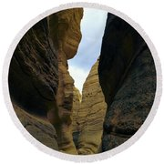 Slot Canyon Within The Tent Rocks Round Beach Towel