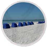 Slow Morging At The Beach Round Beach Towel