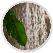 Slow Motion Tropical Waterfall Round Beach Towel