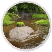Slow River In Deep Forest Landscape Round Beach Towel