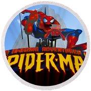 Spider Man Ride Sign.  Round Beach Towel