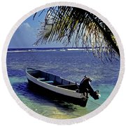 Small Boat Belize Round Beach Towel