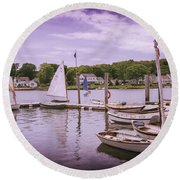 Small Boat Day Round Beach Towel