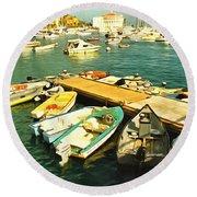 Small Boat Dock Catalina Island California Round Beach Towel