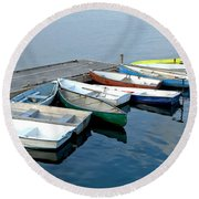 Small Boats Docked To A Pier Round Beach Towel