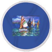 Small Boats Round Beach Towel