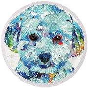 Small Dog Art - Soft Love - Sharon Cummings Round Beach Towel by Sharon Cummings