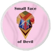 Small Face Of Devil Text Round Beach Towel