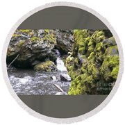 Small Falls At Boulder Cave Round Beach Towel