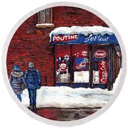 Small Format Paintings For Sale Poutine Lafleur Montreal Petits Formats A Vendre Cspandau Artist  Round Beach Towel