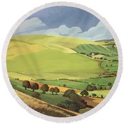 Small Green Valley Round Beach Towel