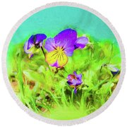 Small Group Of Violets Round Beach Towel