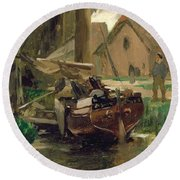 Small Harbor With A Boat  Round Beach Towel by Thomas Ludwig Herbst
