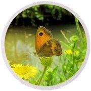 Small Heath Butterfly Round Beach Towel