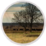 Small Herd In Winter Round Beach Towel
