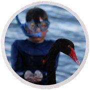 Small Human Meets Black Swan Round Beach Towel