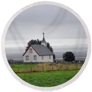Small Icelandic Church With Gray Roof Round Beach Towel