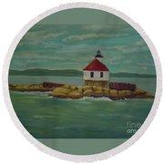 Small Island Lighthouse Round Beach Towel