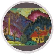Small Landscape With Telegraph Round Beach Towel