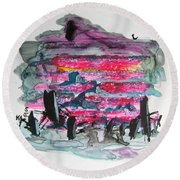 Small Landscape48 Round Beach Towel