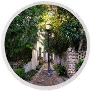 Small Lane In Charleston Round Beach Towel