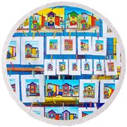 Small Paintings For Sale In La Boca Area Of Buenos Aires-argentina  Round Beach Towel