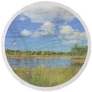 Small Pond With Weathered Wood Round Beach Towel