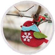 Small Red Handicraft Bird Hanging On A Wire Round Beach Towel