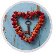 Small Rose Heart Wreath With Key Round Beach Towel by Garry Gay