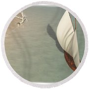 Small Sail Boat... Round Beach Towel