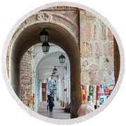 Small Stall In Cuenca Ecuador Round Beach Towel