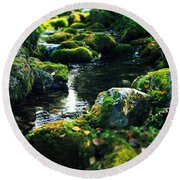 Small Stream In Green Forest Lapland Round Beach Towel