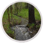 Small Stream In The Woods Round Beach Towel