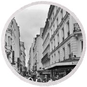 Small Street In Paris Round Beach Towel