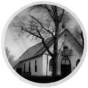 Small Town Church Round Beach Towel