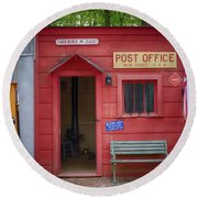 Small Town Post Office Round Beach Towel