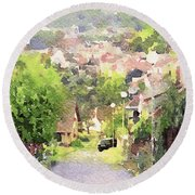 Small Town Scape Round Beach Towel